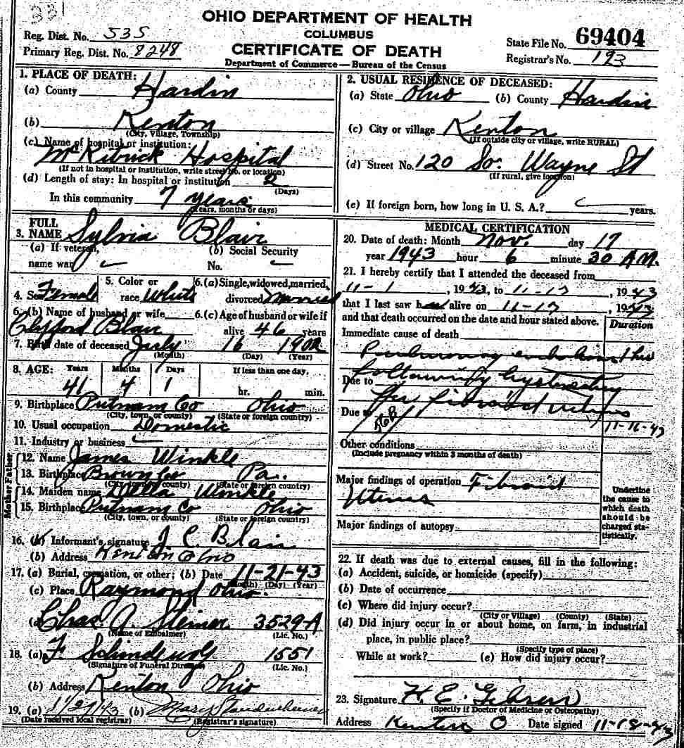 Union county ohio gravestone photos union county ohio death certificate aiddatafo Images